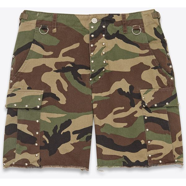 Saint Laurent Army Cargo Short ($780) ❤ liked on Polyvore featuring men's fashion, men's clothing, men's shorts, mens cotton shorts, mens cotton cargo shorts, mens cargo shorts and mens army shorts