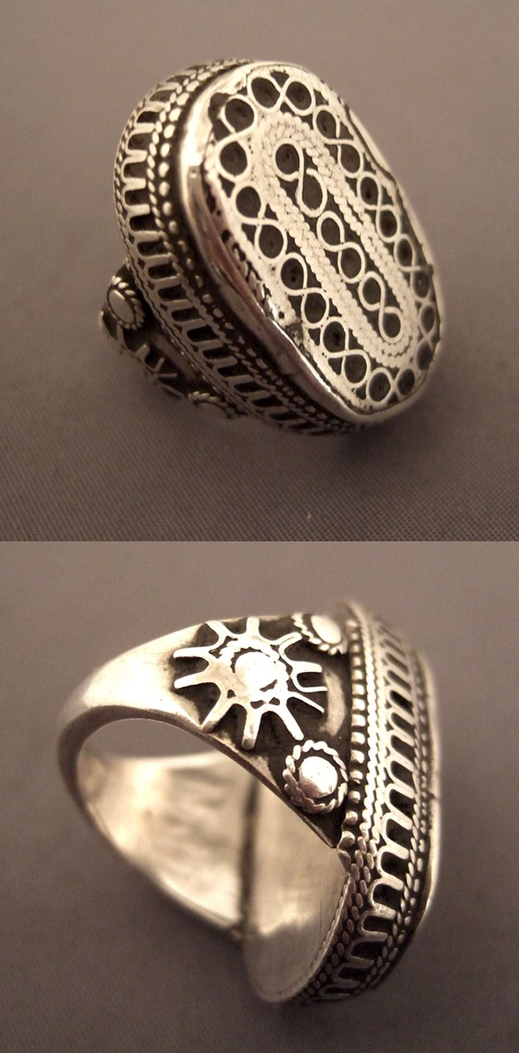 Kazakhstan | Old silver ring, with design typical of the region