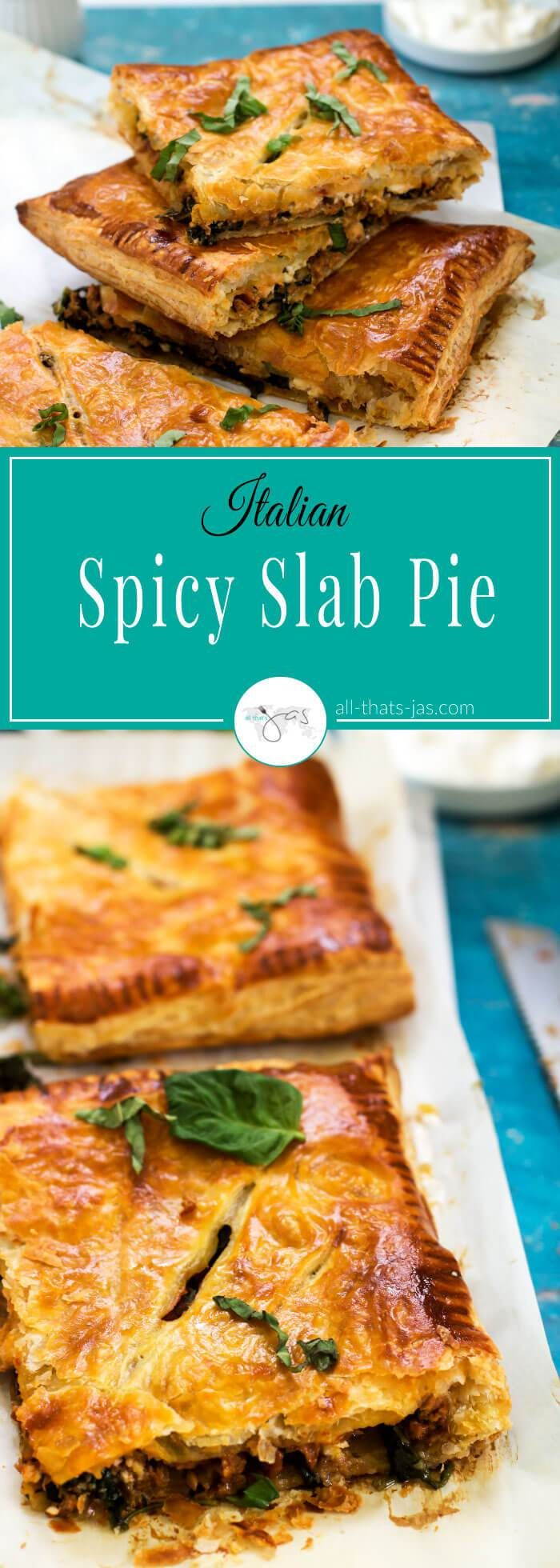 This spicy Italian slab pie recipe is simple and super easy to make with puff pastry filled with spicy Italian sausage, Ricotta cheese, fennel, spinach, and marinara sauce. | allthatsjas.com | #ItalianFood #pie #spicy, #pastry #puffpastry #dinner #quick, #Italian,