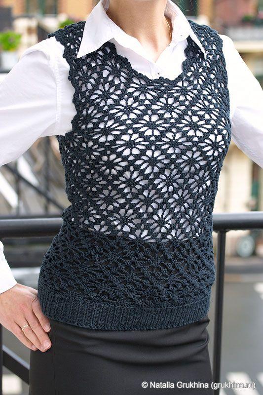 Patron Crochet Chaleco Mujer de Negocios - Patrones Crochet