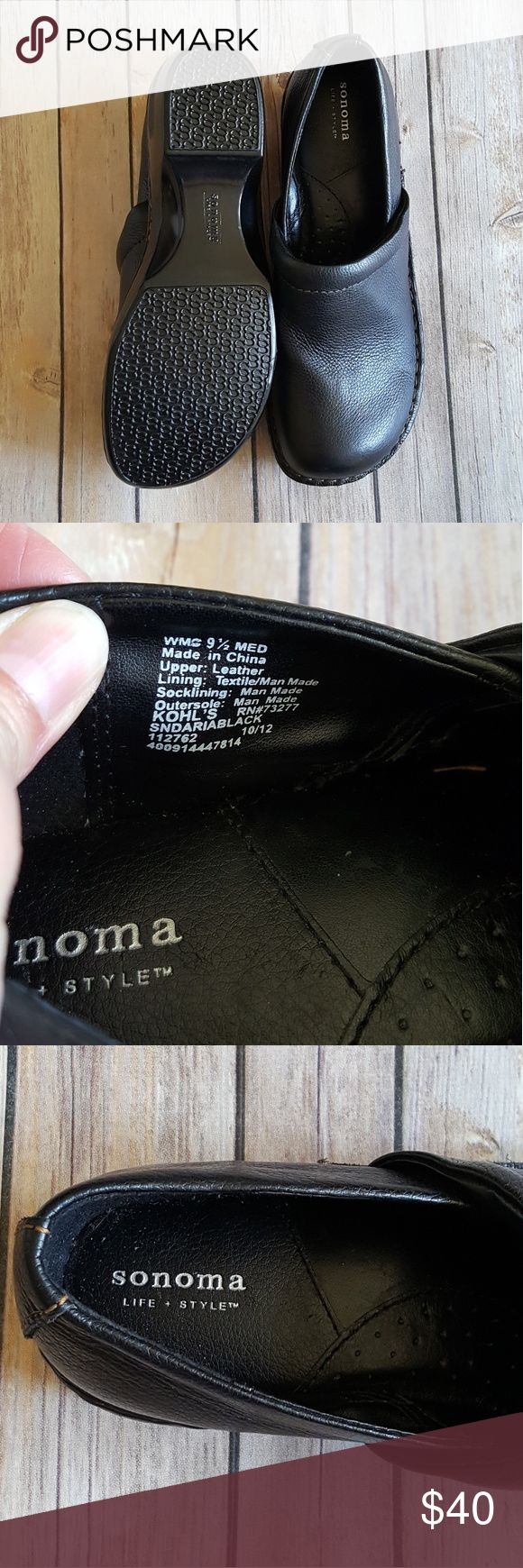 Sonoma Black Leather Shoes Brand new never been worn black leather shoes. Sonoma Shoes Mules & Clogs