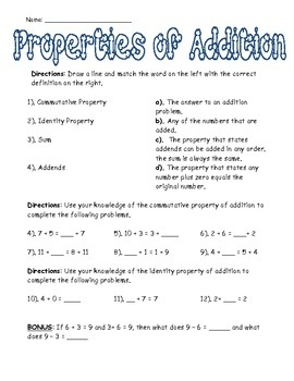 Printables Math Properties Worksheet 1000 images about addition properties on pinterest cut and of worksheet 3rd grade