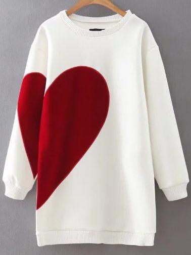 White Heart Pattern Ribbed Trim Sweatshirt Dress — 0.00 € -------color: White size: L,M,S