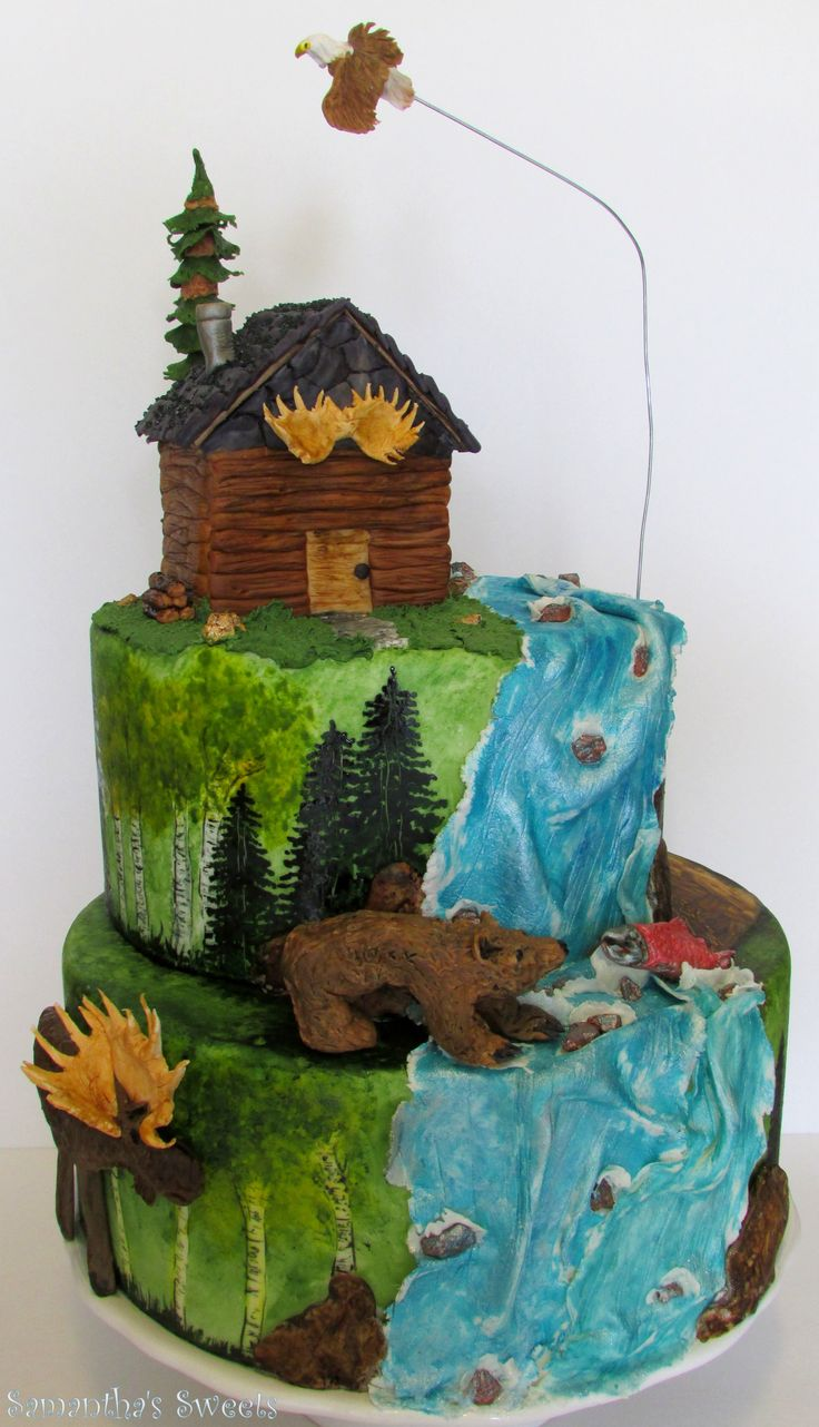 North American Hunting Birthday Cake ~ with grizzly, moose, salmon, waterfall, eagle, and hunting cabin ~by Samantha's Sweets www.samantha-sweets.com
