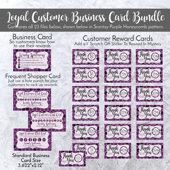 Loyal Customer Business Card Bundle Personalized In Wax Purple Etsy Business Card Pattern Loyalty Card Template Business Postcards