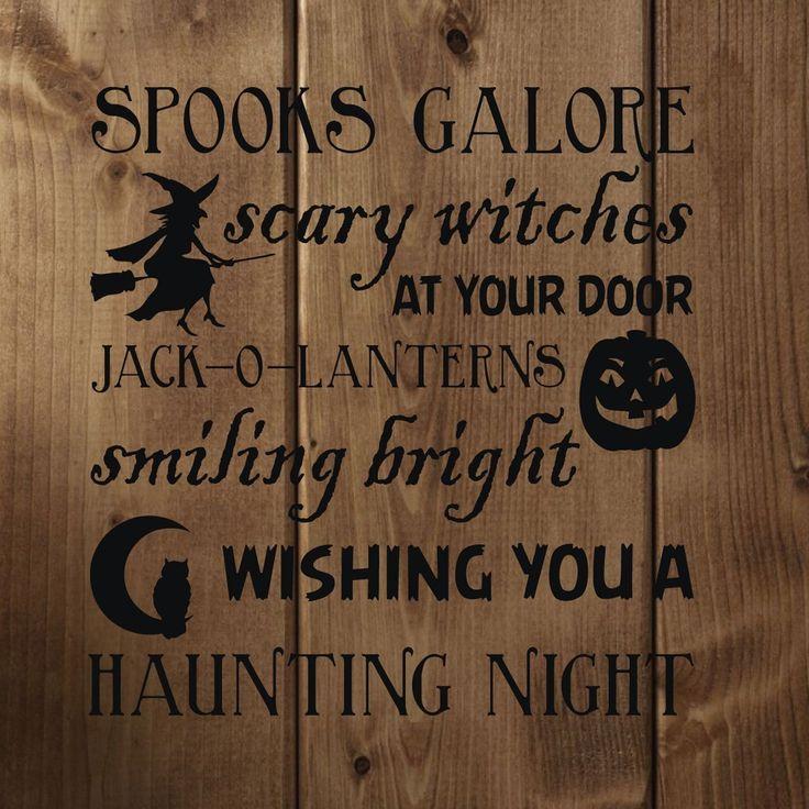 Halloween Decor - Halloween Poem Vinyl Wall Decal - Witches, Jack-O-Lanterns, Trick or Treat - CustomVinylDecor.com