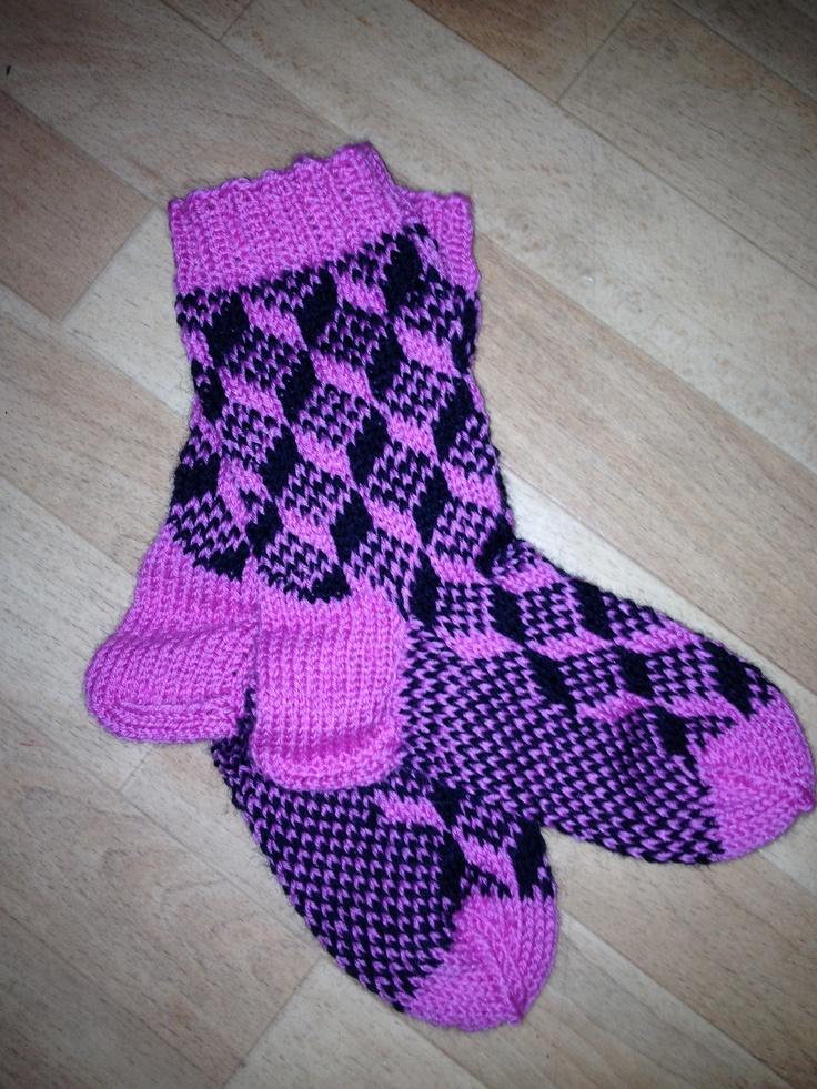 Socks knitted in Norwegian Senja pattern.