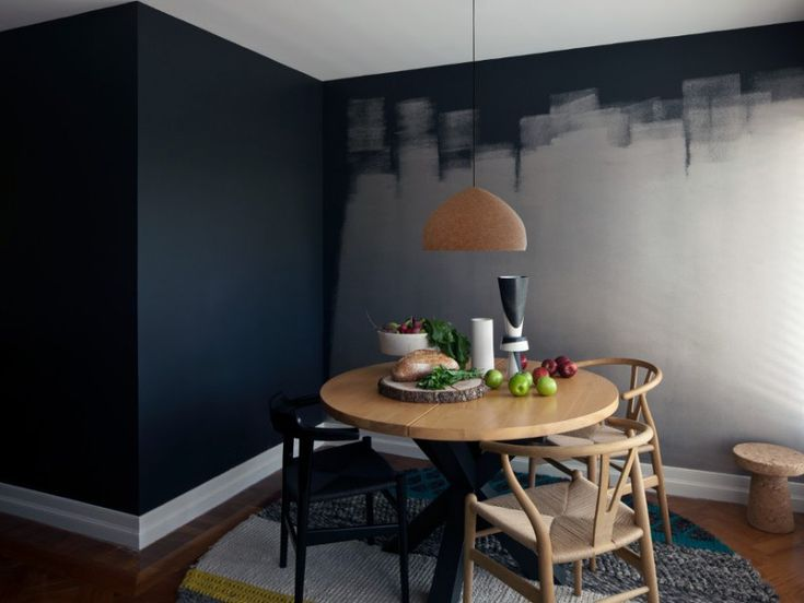 This Unique Dining Room Includes A Dramatic Feature Wall; The Use Of Bold  Colours Create Depth And When Paired With The Lighter Colour Results In An