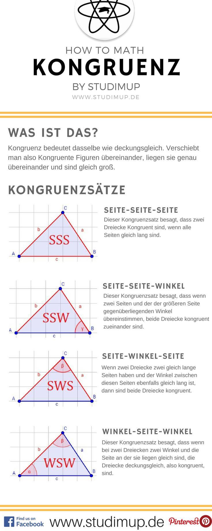 Kongruenz ist ein wichtiger Begriff in der Geometrie. Hier habt ihr einen Mathe Spickzettel dazu.
