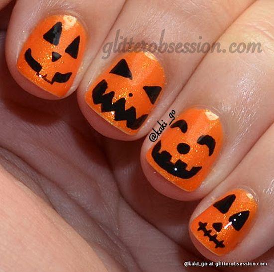 nice Jack o' Lanterns by Glitter Obsession - 25 Fun Halloween Nail Art Ideas... - Pepino Nail Art Design