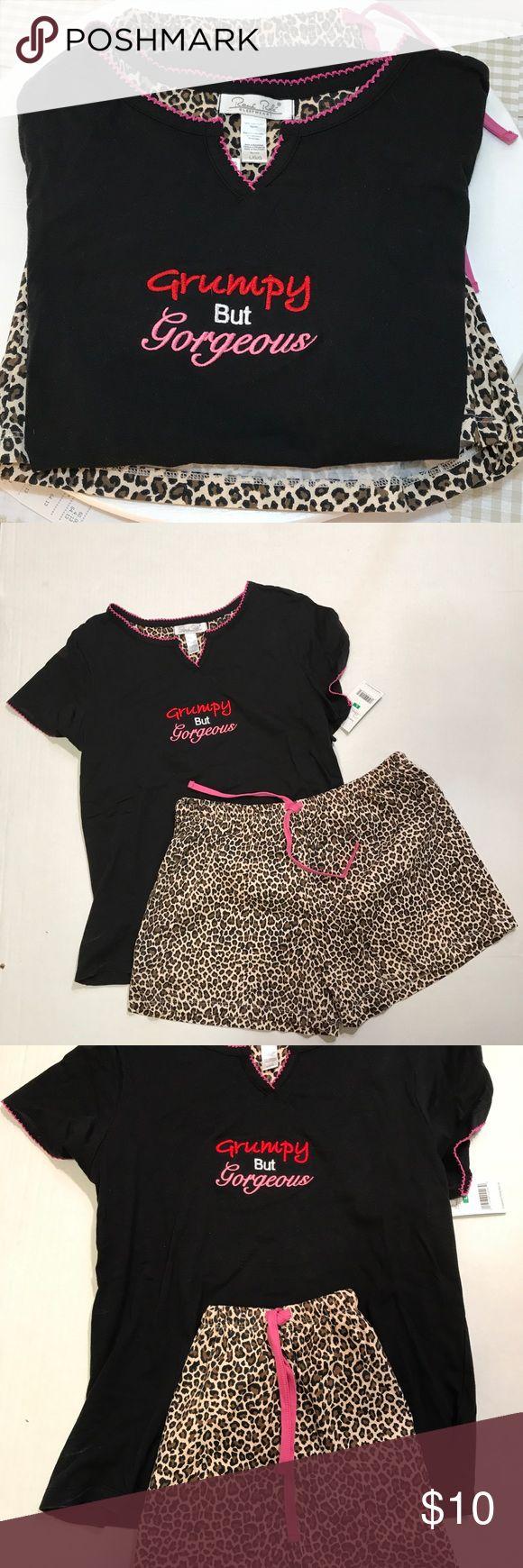 Renee Rofe pajama short set Leopard print draw string elastic waist shorts with matching black top with Grumpy But Gorgeous embroidered on front v neck shirt sleeve top Renee Rofe Intimates & Sleepwear Pajamas