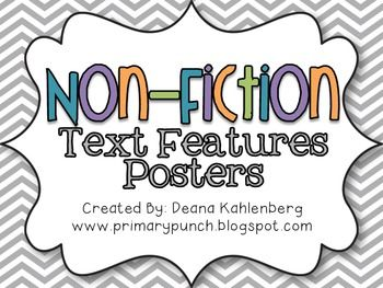 This packet contains colorful posters to teach 20 non-fiction text features to teach informational text!%0A%0A-guide words%09%0A-title page%0A-table of contents%0A-index%0A-glossary%0A-heading%0A-keywords%0A-illustrations & photographs%0A-captions%0A-diagrams%0A-labels%0A-text box%0A-maps%0A-charts%0A-hyperlink%0A-icon%0A-bullets%0A-timeline%0A-cutaway%0A-graph