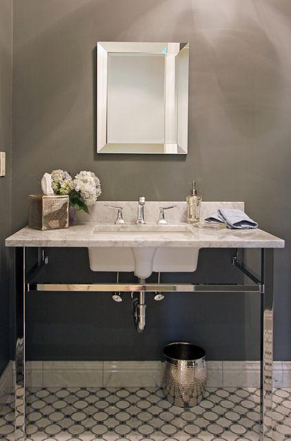 Transitional Powder Room By Home By Jody Beautiful