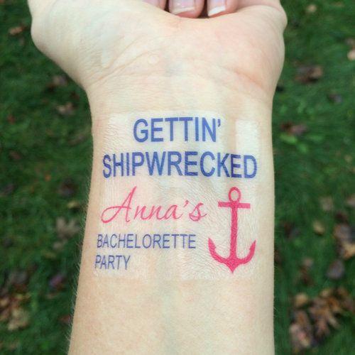 Gettin' Shipwrecked Bachelorette Party Temporary Tattoo