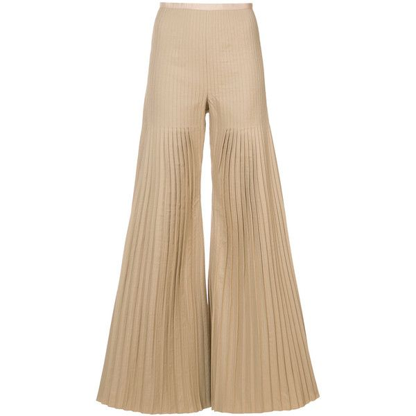 Huishan Zhang pleated palazzo pants ($865) ❤ liked on Polyvore featuring pants, brown, high-waisted trousers, high waisted palazzo pants, high waisted trousers, palazzo pants and high waisted palazzo trousers