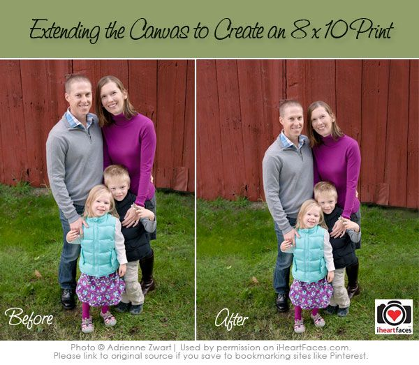 Extending Your Canvas in Photoshop to Correctly Print an 8x10 | Photography Tutorial via iHeartFaces.com