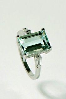Green beryl and diamond engagement ring | UK $1795