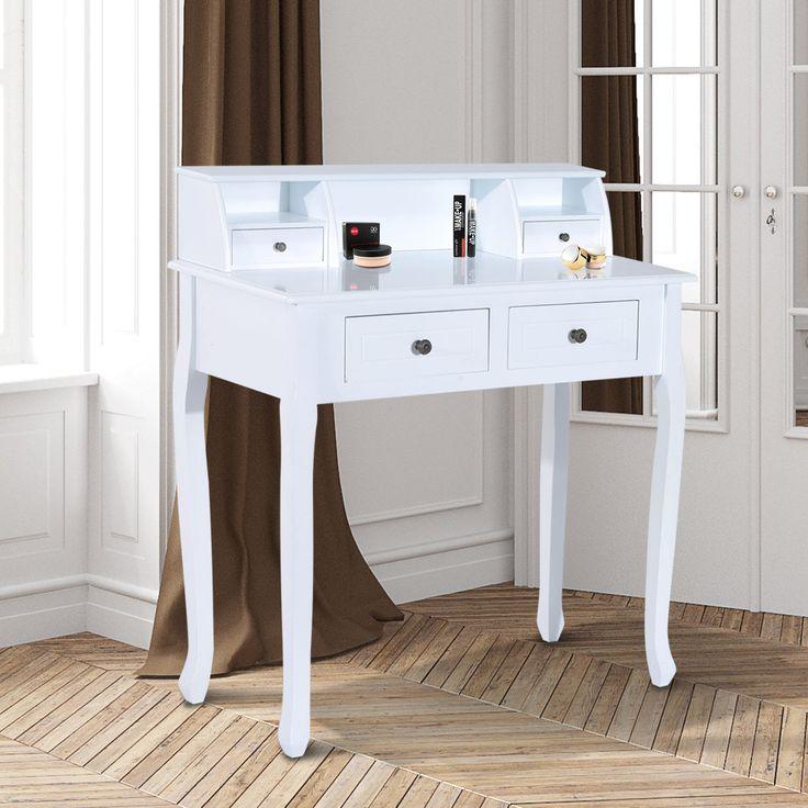 HOMCOM Dressing Table Chic Vanity Make-Up Desk with 4 Drawers Storage Solid Wood | eBay