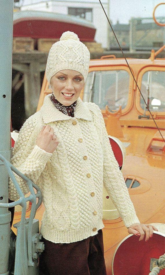 Damen Aran Jacke und Hut – Strickjacke für Damen
