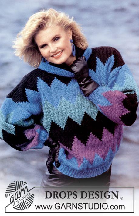 DROPS trui met harlekijnpatroon van Alaska. Maat S – L. Gratis patronen van DROPS Design.