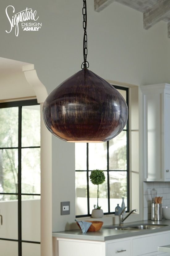 Aminali pendant light antique brass finish signature design by ashley