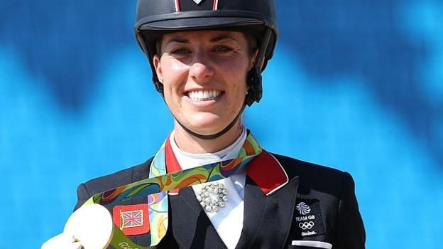 Charlotte Dujardin becomes the second British woman to win three Olympic gold medals by retaining her individual dressage title in Rio.