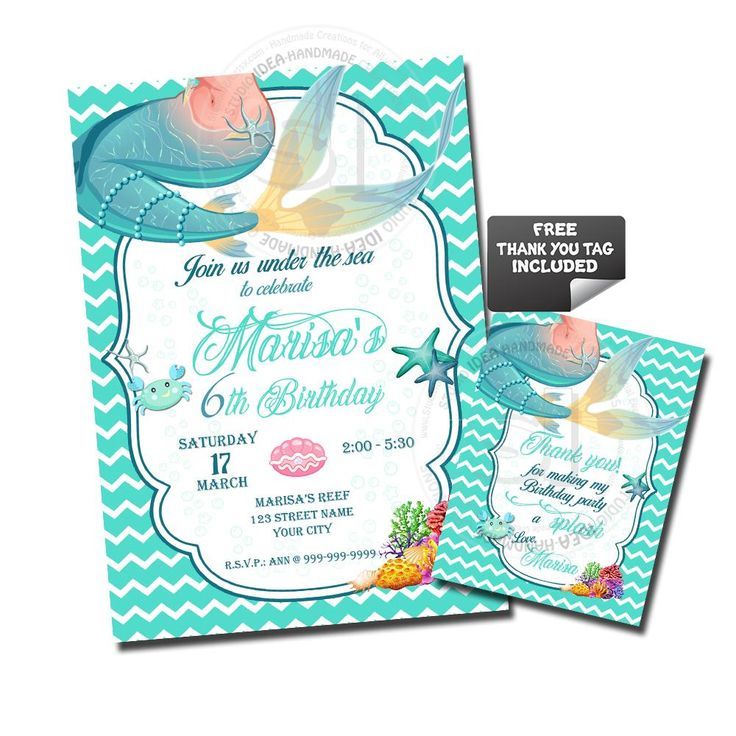 Mermaid Party Printable Invitation with FREE Thank you Matching Tag-DIY Digital File-Mermaid Tale Birthday Invitation -You Print