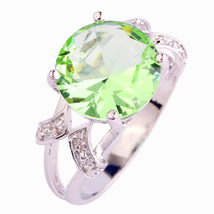 lingmei Free Shipping Cocktail Jewelry Green Amethyst White CZ Silver Ring Size 6 7 8 9 10 11 12 13 For Women Wholesale