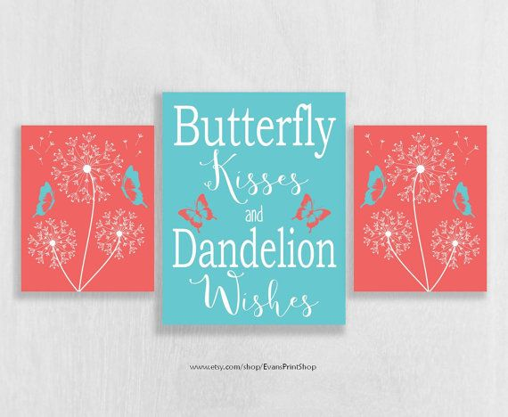 Coral and Aqua Nursery Wall Art Print Set of 3 - Dandelion Nursery Decor - Art…