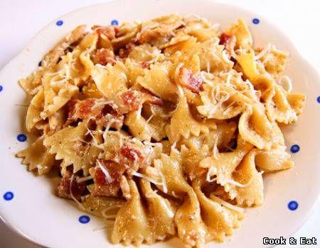 Рецепт Фарфалле с беконом под сливочным соусом - Основные блюда - Cook and Eat