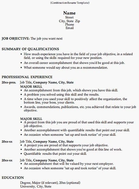 7 best Work images on Pinterest - sample combination resume template