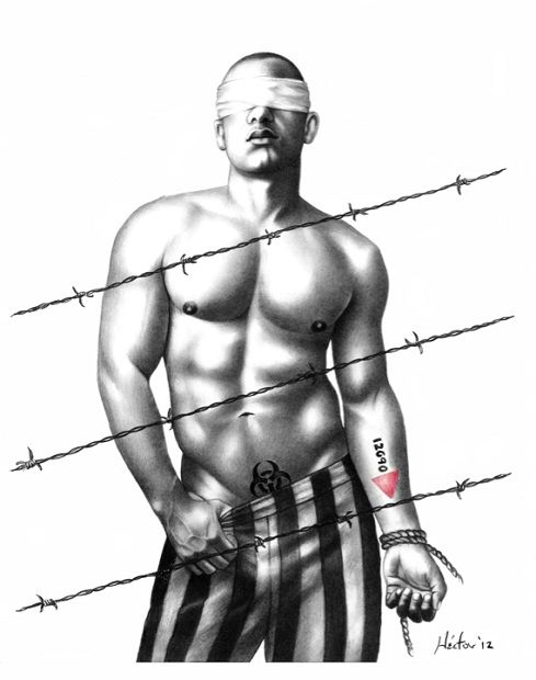 """Hector Silva makes history hot. In """"Nuestras Historias Plegadas,"""" a blindfolded shirtless, muscular man stands behind barbed wire. He lowers the left waistband of his prison garb, revealing a biohazard symbol. The man's right wrist is bound with rope and an upside down pink triangle is tattooed on his forearm. """"I wanted to bring some of our gay history back to our new generations,"""" Silva says. """"I have been talking to a lot of gay youth and other gay people, including gay Latino immigrants…"""