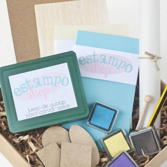 Kit de carvado de sellos: tintas, gubias, planchas, bases de madera...