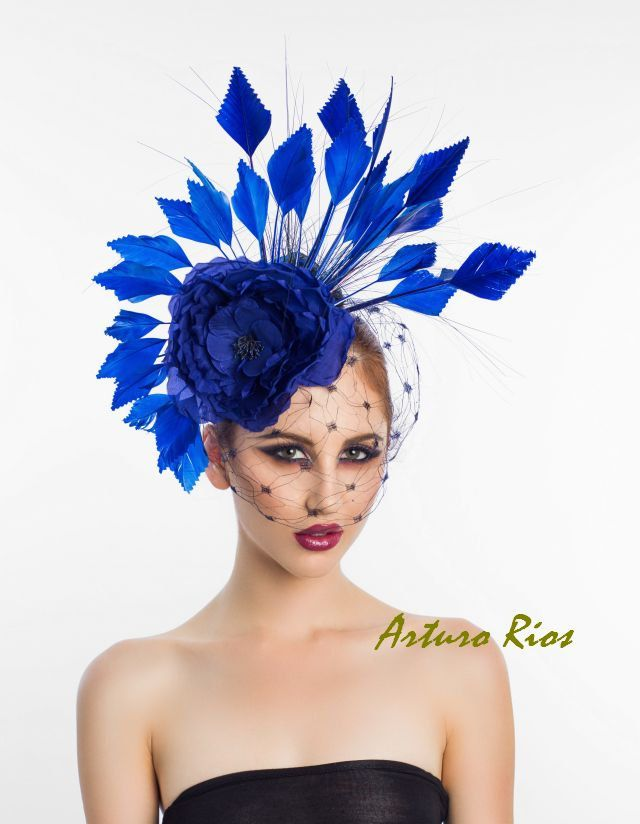 Royal Blue Fascinator Cocktail Hat Headpiece by ArturoRios on Etsy, $210.00