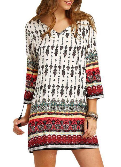 Cotton Blends Geometric 3/4 Sleeves Mini Vintage Dresses (1033450) @