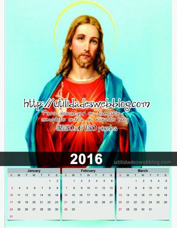 Calendario trimestral del año 2016 del corazón de Jesus