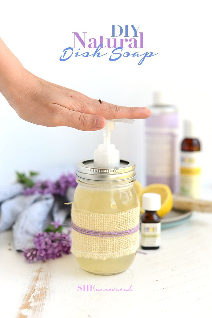 Make this DIY Natural Dish Soap! It's biodegradable, non-toxic and uses plant-based ingredients from that helps you rid your home of the toxins in commercial cleaners.
