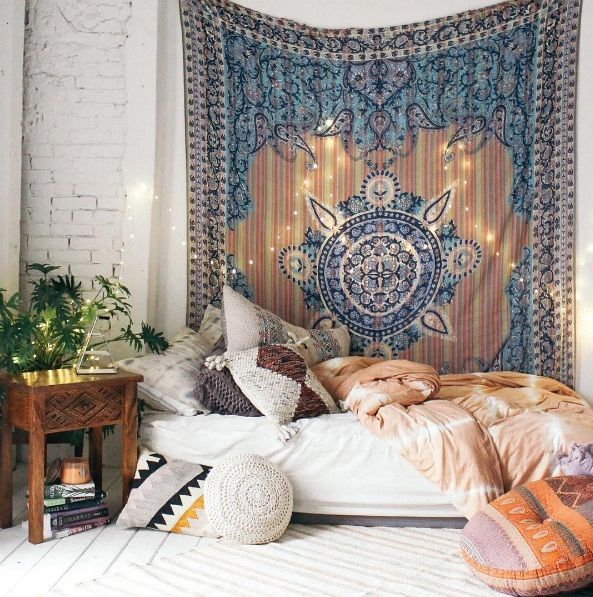 Bohemian Bedroom // Shop The Style: Tapestry   Carved Wood Nightstand    Pink Duvet