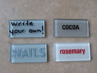 awesome! labels out of backsplash tiles