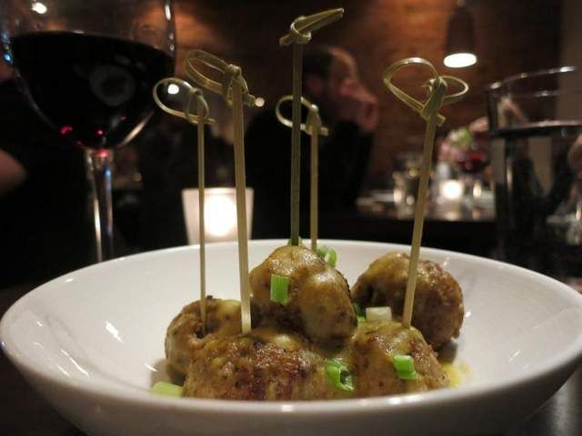 Among the choices at Aventura tapas restaurant in Ann Arbor are albondigas, or lamb meatballs, with manchego and almond picada.