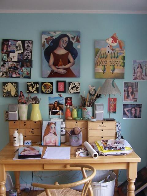 100_9844 I never get tired of seeing other artists work spaces.: Artists Studios, Art Desks, Stu Stu Studios, Creative Spaces, Artists Work, Interiors Design, Work Spaces, Savvy Storage, Crafts Studios