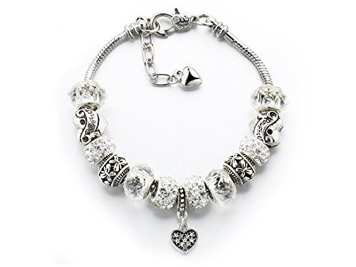 Silver Plated Charm Bracelet with Heart Pendant Swarovski Crystal Elements 9aeYwI4s