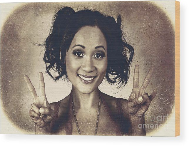 Peace Wood Print featuring the photograph Vintage 50s Asian Woman Showing Peace Sign On Hand by Jorgo Photography - Wall Art Gallery