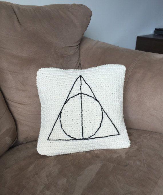 Harry Potter Deathly Hallows crochet minimalist pillow