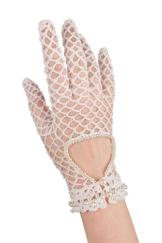 Nupcial guantes recortados de moda con perlas de ganchillo