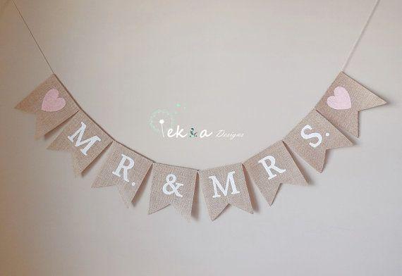 Mr. & Mrs. Burlap Banner / wedding garland / wedding photo props / wedding reception decor / wedding bunting / Wedding Burlap Banner -hearts on Etsy, $22.00
