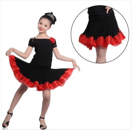 Free Shipping Girl Dew Shoulders Dress Child Kids Performance Competition Samba Tango Latin Dress