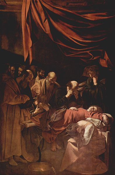 Caravaggio (1578-1610) ~ Death of the Virgin ~ 1601-1606 ~ Louvre, Paris ~ The painting was commissioned by Laerzio Cherubini, a papal lawyer, for his chapel in the Carmelite church of Santa Maria della Scala in Trastevere, Rome