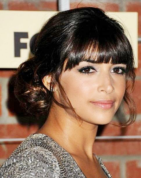 Hannah Simone's Low Bun Hairstyle with Blunt Bangs | Awards, Formal, Party, Prom, Spring, Wedding | Careforhair.co.uk