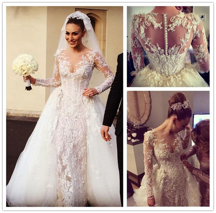 Wedding Gown With Detachable Train: Gorgeous Lace Applique Sheath Wedding Dresses Beads Pearls